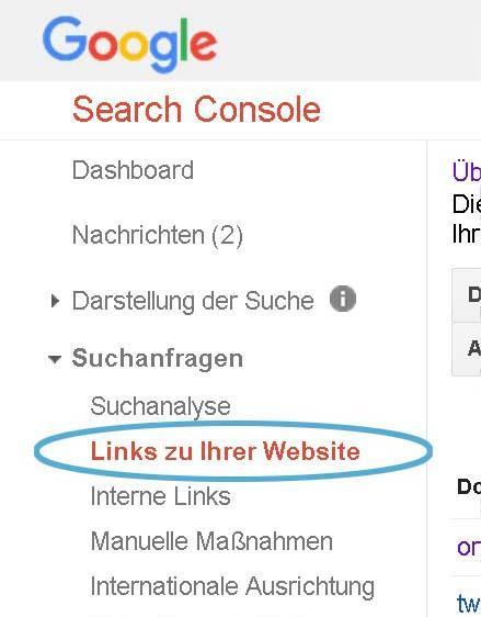 Search Console Links zu Ihrer Webseite